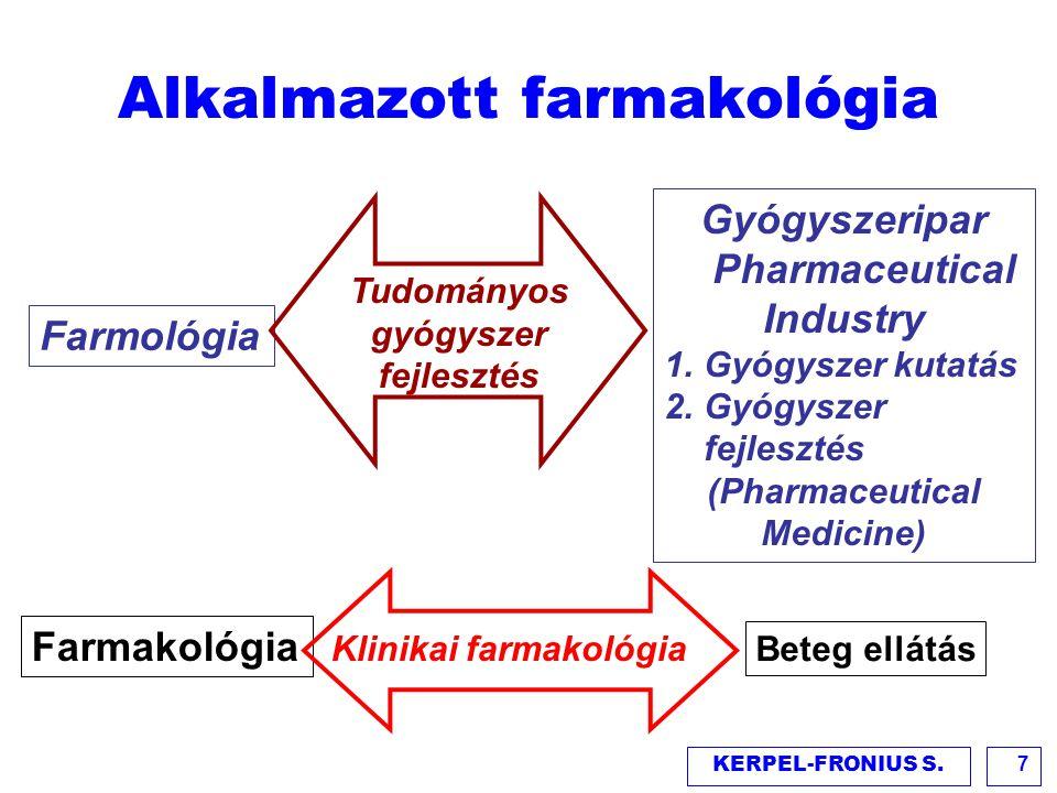 KERPEL-FRONIUS S.8 Farmakológiai specializáció Gyógyszer kutatás Gyógyszer alkalmazás Gyógyszer fejlesztés Egészségügyi ellátás Klinikai farmakológus Gyógyszer fejlesztési szakember Gyógyszerfejlesztő orvos (Pharmaceutical physicians) Gyógyszeripari kutatás, fejlesztés