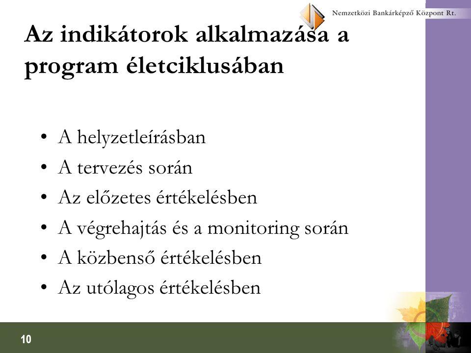 10 Az indikátorok alkalmazása a program életciklusában •A helyzetleírásban •A tervezés során •Az előzetes értékelésben •A végrehajtás és a monitoring