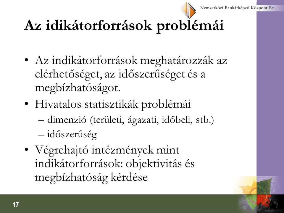 17 Az idikátorforrások problémái •Az indikátorforrások meghatározzák az elérhetőséget, az időszerűséget és a megbízhatóságot. •Hivatalos statisztikák