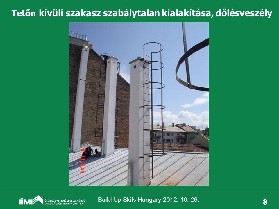 Build Up Skils Hungary 2012. 10. 26. 9 Tetőn kívüli szakasz helytelen, életveszélyes kialakítása