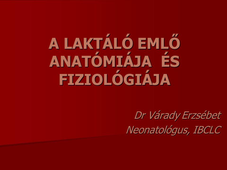 A LAKTÁLÓ EMLŐ ANATÓMIÁJA ÉS FIZIOLÓGIÁJA Dr Várady Erzsébet Neonatológus, IBCLC
