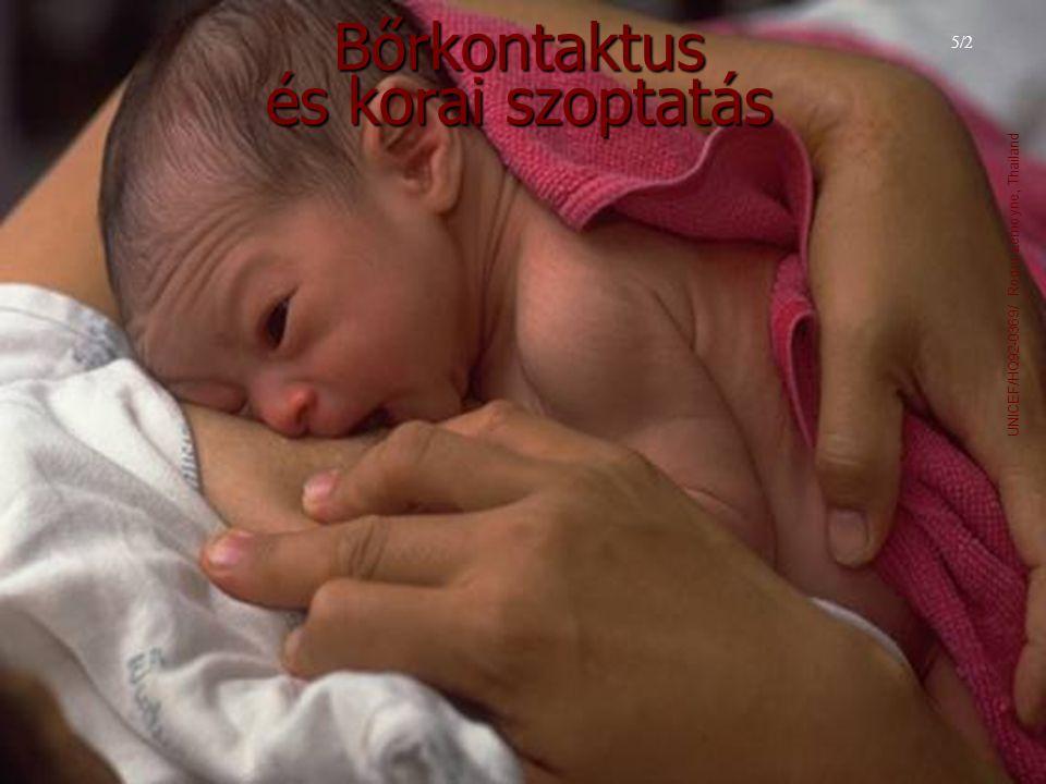 Bőrkontaktus és korai szoptatás 5/2 UNICEF/HQ92-0369/ Roger Lemoyne, Thailand