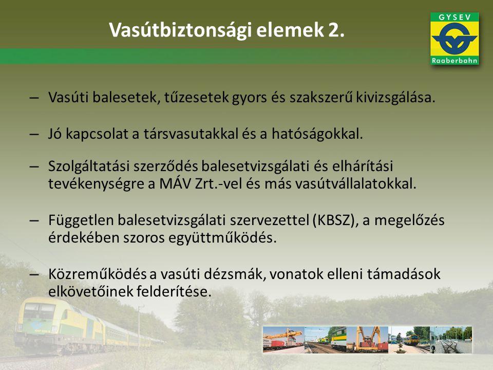 – Vasúti balesetek, tűzesetek gyors és szakszerű kivizsgálása. – Jó kapcsolat a társvasutakkal és a hatóságokkal. – Szolgáltatási szerződés balesetviz