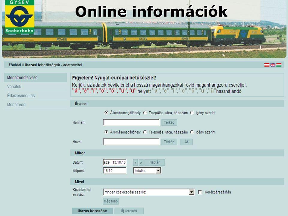 Online információk