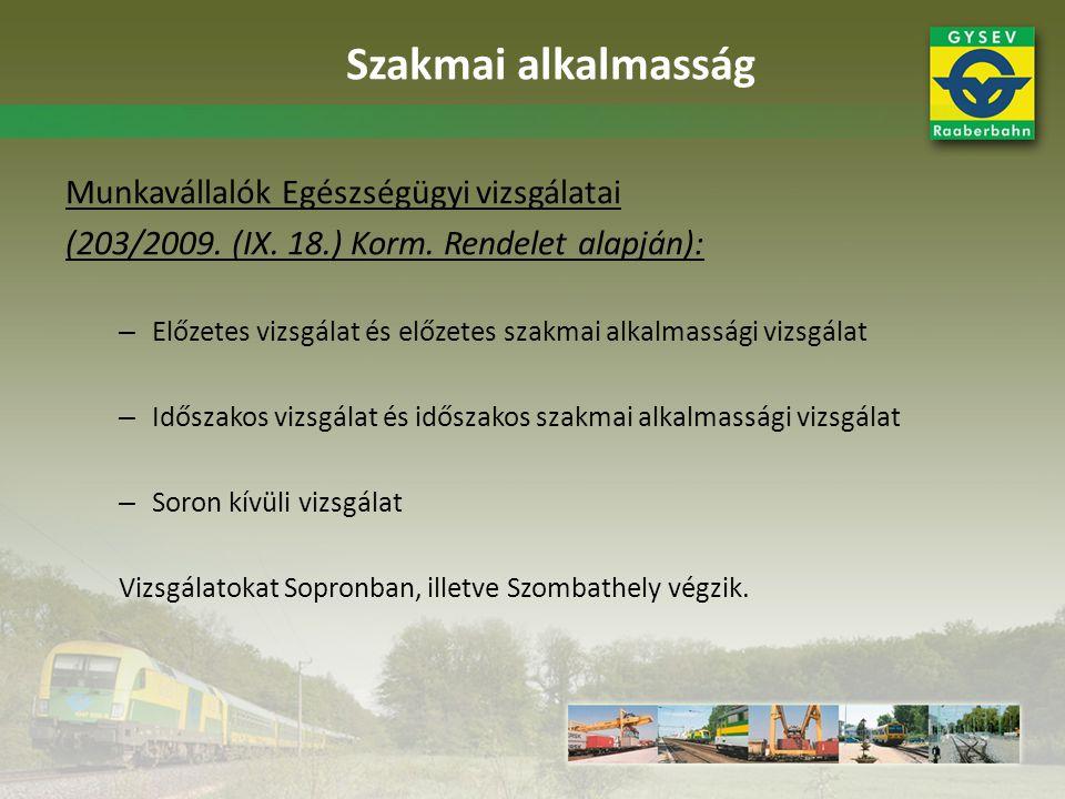 Képzések: • GYSEV Zrt.
