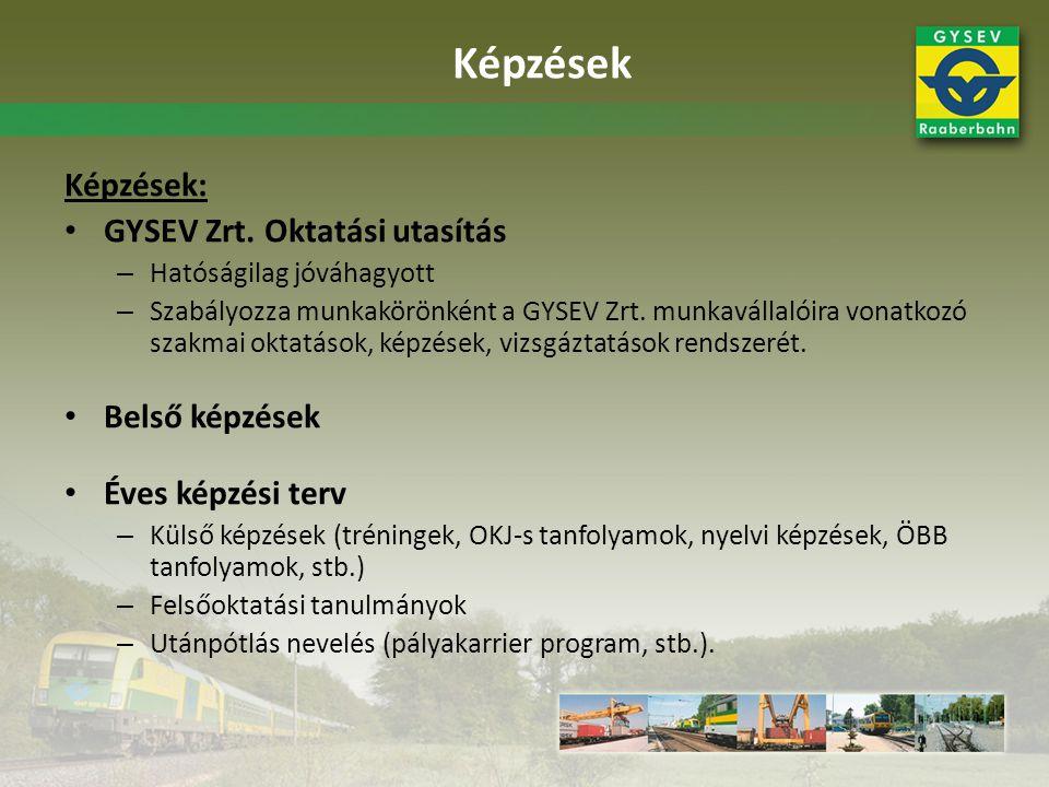 Képzések: • GYSEV Zrt. Oktatási utasítás – Hatóságilag jóváhagyott – Szabályozza munkakörönként a GYSEV Zrt. munkavállalóira vonatkozó szakmai oktatás