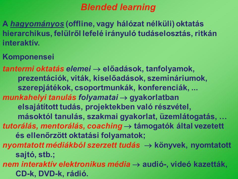A hagyományos (offline, vagy hálózat nélküli) oktatás hierarchikus, felülről lefelé irányuló tudáselosztás, ritkán interaktív. Komponensei tantermi ok