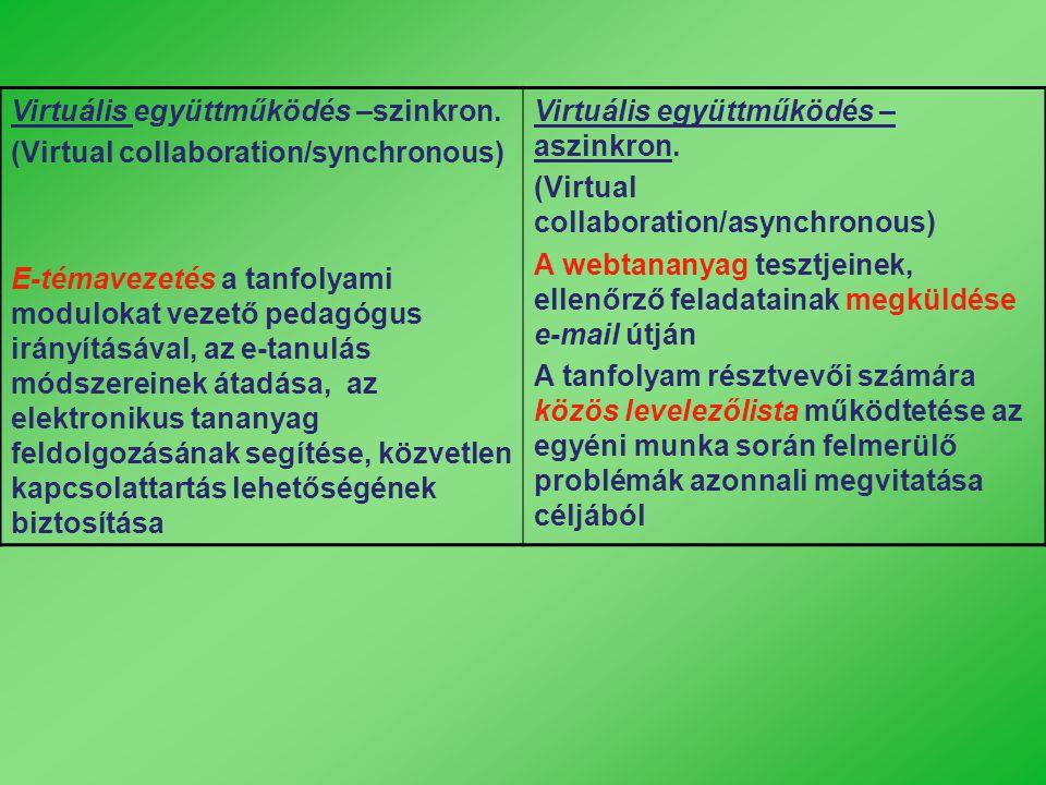 Virtuális együttműködés –szinkron. (Virtual collaboration/synchronous) E-témavezetés a tanfolyami modulokat vezető pedagógus irányításával, az e-tanul