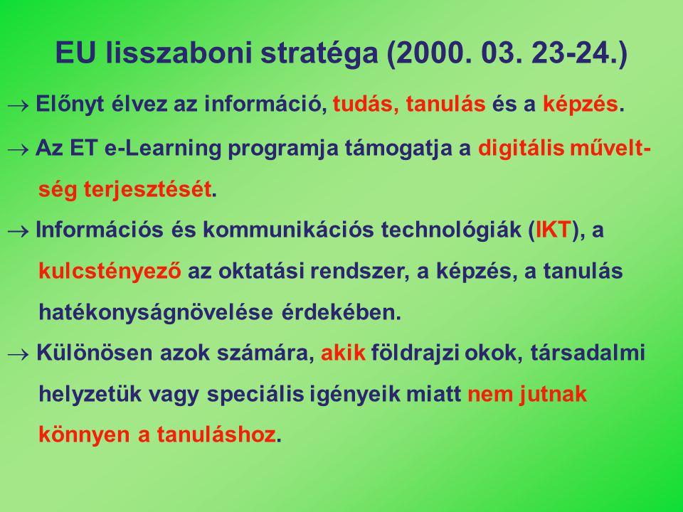 EU lisszaboni stratéga (2000. 03. 23-24.)  Előnyt élvez az információ, tudás, tanulás és a képzés.  Az ET e-Learning programja támogatja a digitális