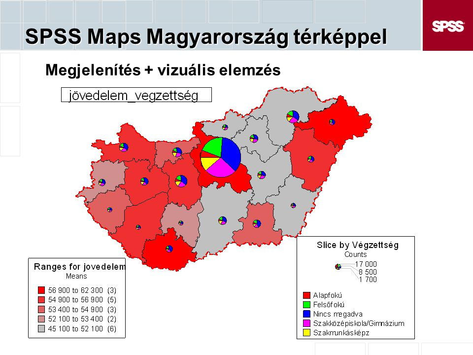 SPSS Maps Magyarország térképpel Megjelenítés + vizuális elemzés