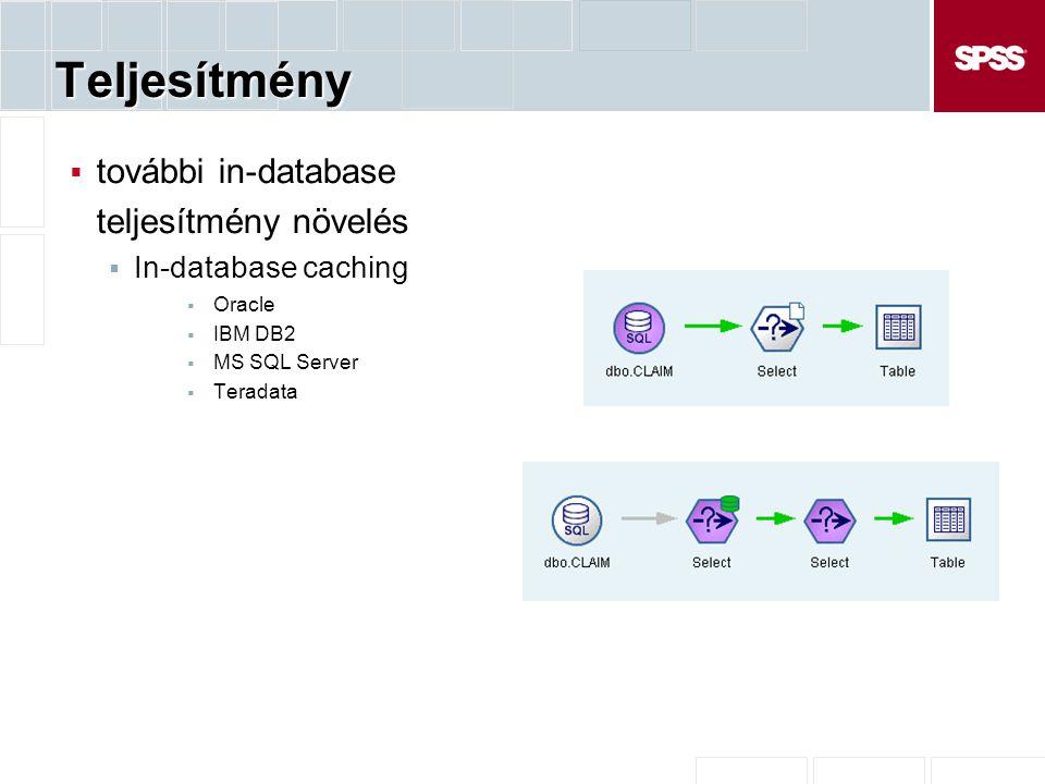 Teljesítmény  további in-database teljesítmény növelés  In-database caching  Oracle  IBM DB2  MS SQL Server  Teradata