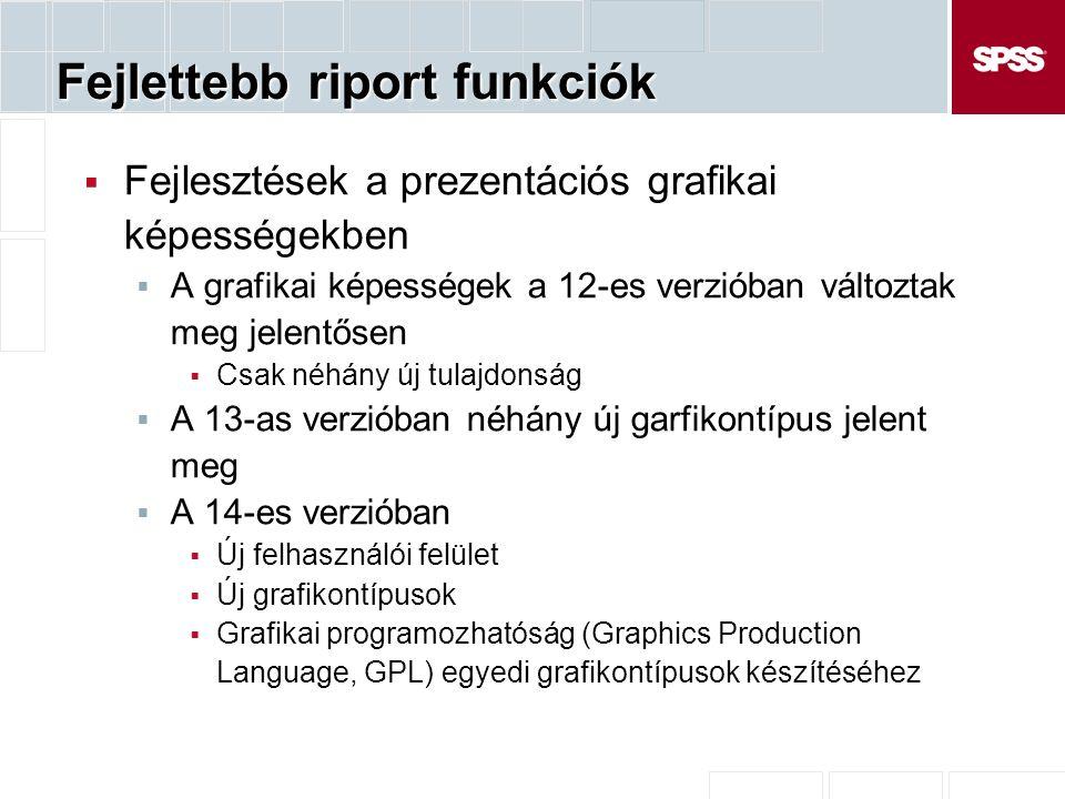 Fejlettebb riport funkciók  Fejlesztések a prezentációs grafikai képességekben  A grafikai képességek a 12-es verzióban változtak meg jelentősen  Csak néhány új tulajdonság  A 13-as verzióban néhány új garfikontípus jelent meg  A 14-es verzióban  Új felhasználói felület  Új grafikontípusok  Grafikai programozhatóság (Graphics Production Language, GPL) egyedi grafikontípusok készítéséhez