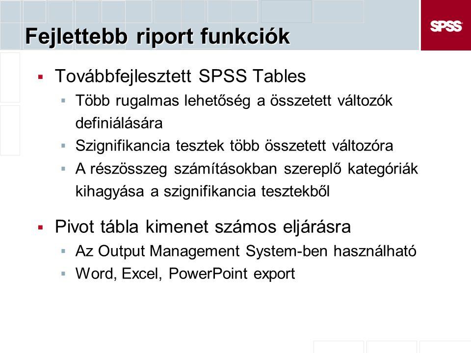 Fejlettebb riport funkciók  Továbbfejlesztett SPSS Tables  Több rugalmas lehetőség a összetett változók definiálására  Szignifikancia tesztek több összetett változóra  A részösszeg számításokban szereplő kategóriák kihagyása a szignifikancia tesztekből  Pivot tábla kimenet számos eljárásra  Az Output Management System-ben használható  Word, Excel, PowerPoint export