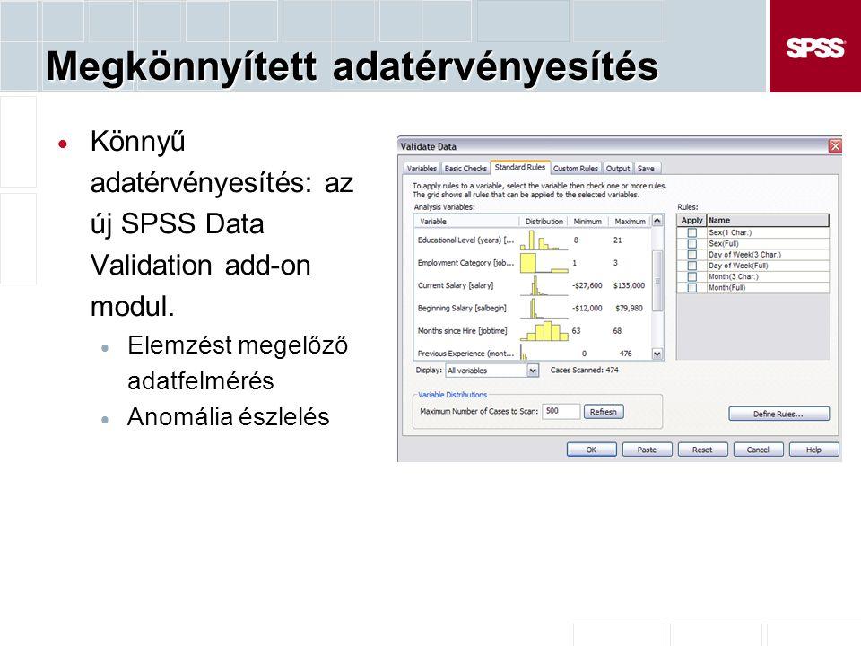 Megkönnyített adatérvényesítés  Könnyű adatérvényesítés: az új SPSS Data Validation add-on modul.