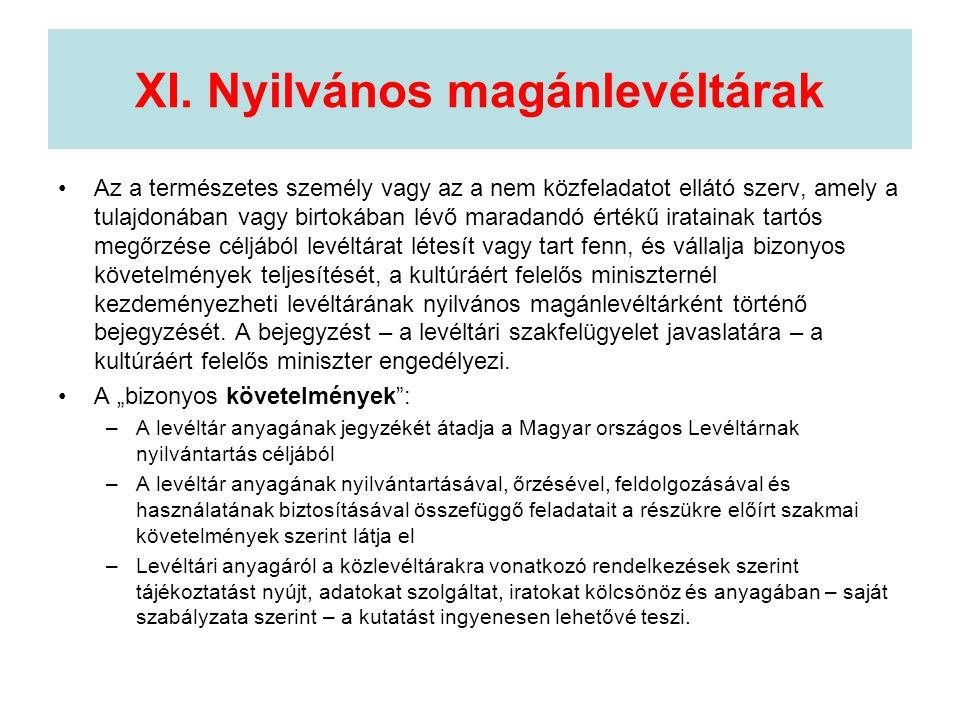 XI. Nyilvános magánlevéltárak •Az a természetes személy vagy az a nem közfeladatot ellátó szerv, amely a tulajdonában vagy birtokában lévő maradandó é