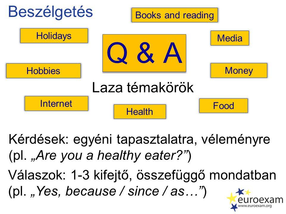 """Beszélgetés Q & A Laza témakörök Kérdések: egyéni tapasztalatra, véleményre (pl. """"Are you a healthy eater?"""") Válaszok: 1-3 kifejtő, összefüggő mondatb"""