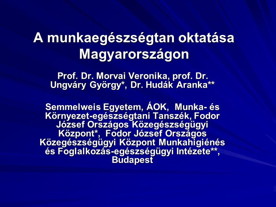A munkaegészségtan oktatása Magyarországon Prof. Dr. Morvai Veronika, prof. Dr. Ungváry György*, Dr. Hudák Aranka** Prof. Dr. Morvai Veronika, prof. D