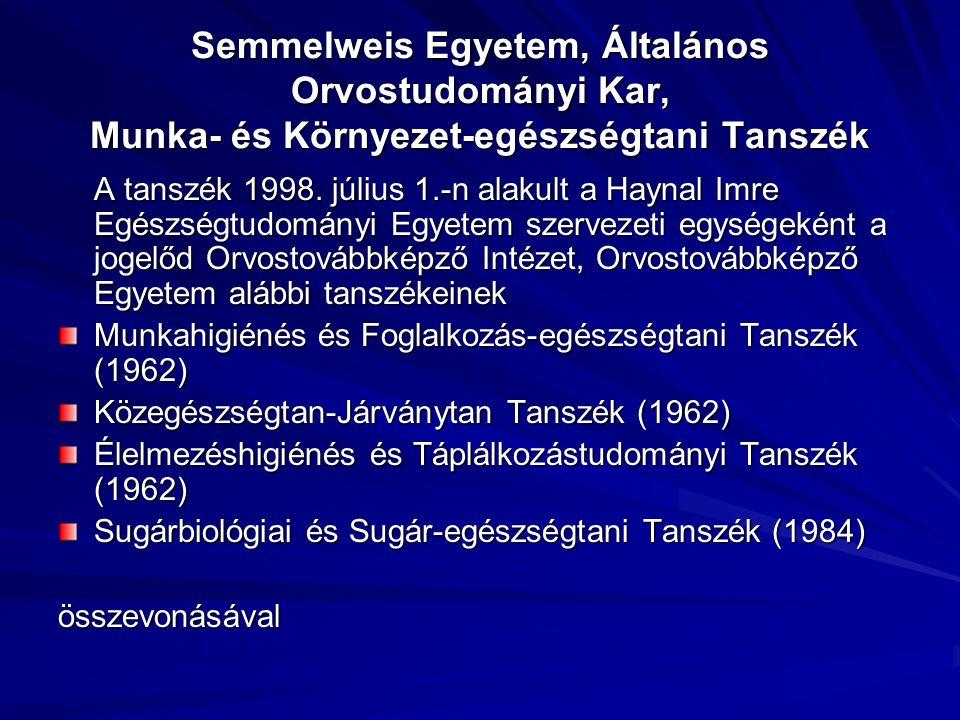 Semmelweis Egyetem, Általános Orvostudományi Kar, Munka- és Környezet-egészségtani Tanszék A tanszék 1998. július 1.-n alakult a Haynal Imre Egészségt