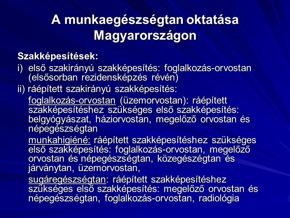 A munkaegészségtan oktatása Magyarországon Szakképesítések: i) első szakirányú szakképesítés: foglalkozás-orvostan (elsősorban rezidensképzés révén) ii) ráépített szakirányú szakképesítés: foglalkozás-orvostan (üzemorvostan): ráépített szakképesítéshez szükséges első szakképesítés: belgyógyászat, háziorvostan, megelőző orvostan és népegészségtan munkahigiéné: ráépített szakképesítéshez szükséges első szakképesítés: foglalkozás-orvostan, megelőző orvostan és népegészségtan, közegészégtan és járványtan, üzemorvostan, munkahigiéné: ráépített szakképesítéshez szükséges első szakképesítés: foglalkozás-orvostan, megelőző orvostan és népegészségtan, közegészégtan és járványtan, üzemorvostan, sugáregészségtan: ráépített szakképesítéshez szükséges első szakképesítés: megelőző orvostan és népegészségtan, foglalkozás-orvostan, radiológia