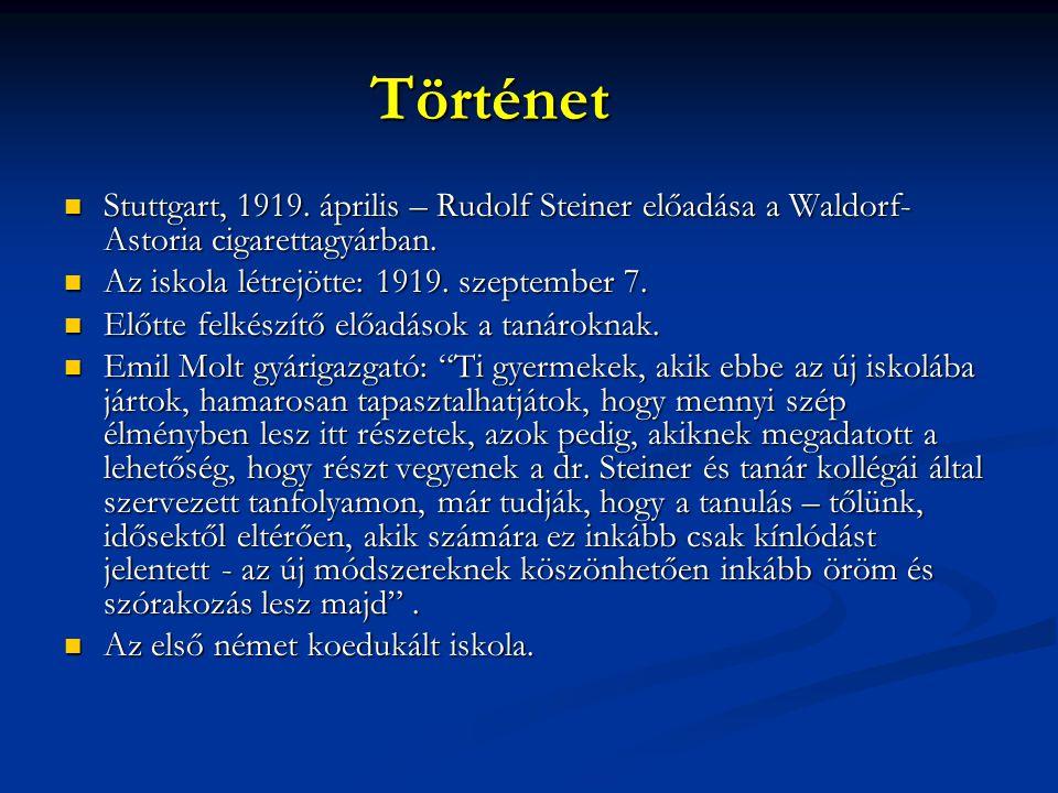 Történet  Stuttgart, 1919. április – Rudolf Steiner előadása a Waldorf- Astoria cigarettagyárban.  Az iskola létrejötte: 1919. szeptember 7.  Előtt
