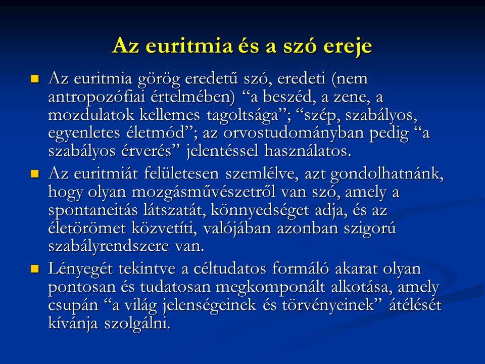 """Az euritmia és a szó ereje  Az euritmia görög eredetű szó, eredeti (nem antropozófiai értelmében) """"a beszéd, a zene, a mozdulatok kellemes tagoltsága"""