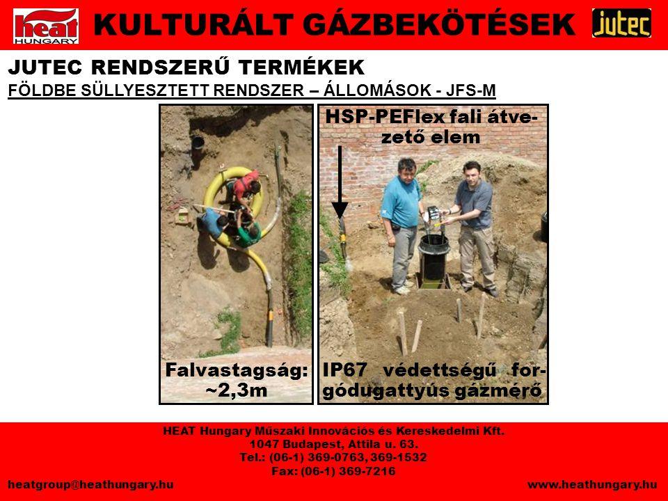 HSP-PEFlex fali átve- zető elem IP67 védettségű for- gódugattyús gázmérő Falvastagság: ~2,3m JUTEC RENDSZERŰ TERMÉKEK FÖLDBE SÜLLYESZTETT RENDSZER – ÁLLOMÁSOK - JFS-M KULTURÁLT GÁZBEKÖTÉSEK HEAT Hungary Műszaki Innovációs és Kereskedelmi Kft.