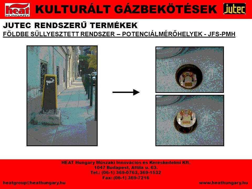 JUTEC RENDSZERŰ TERMÉKEK FÖLDBE SÜLLYESZTETT RENDSZER – POTENCIÁLMÉRŐHELYEK - JFS-PMH KULTURÁLT GÁZBEKÖTÉSEK HEAT Hungary Műszaki Innovációs és Kereskedelmi Kft.
