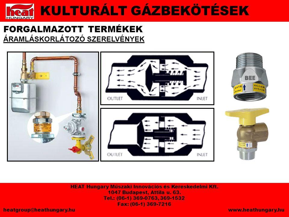 FORGALMAZOTT TERMÉKEK ÁRAMLÁSKORLÁTOZÓ SZERELVÉNYEK KULTURÁLT GÁZBEKÖTÉSEK HEAT Hungary Műszaki Innovációs és Kereskedelmi Kft.