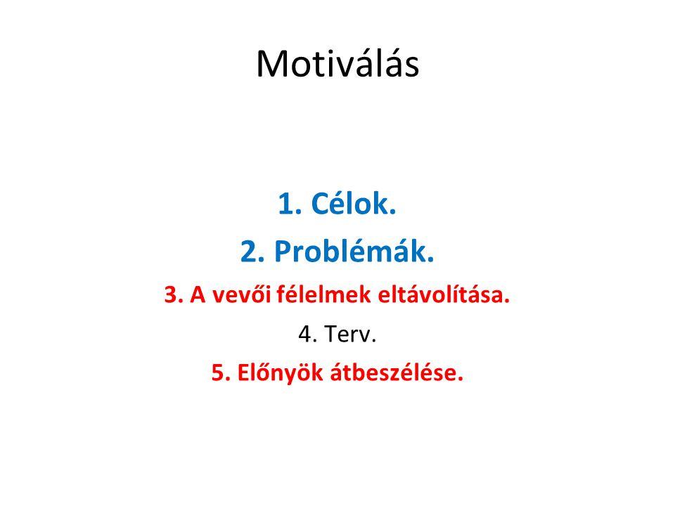 Motiválás 1. Célok. 2. Problémák. 3. A vevői félelmek eltávolítása.