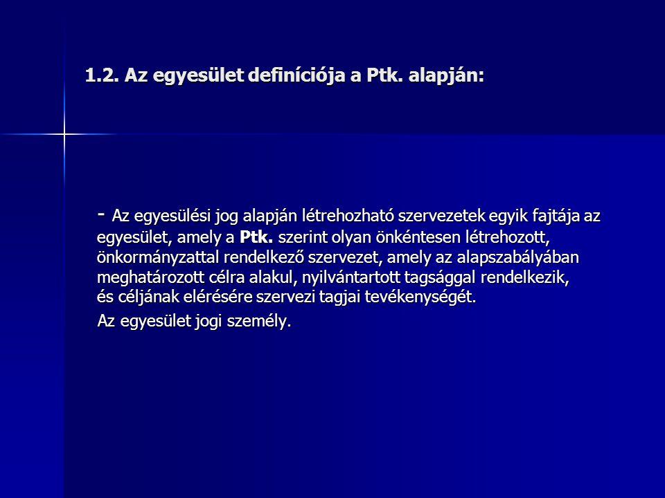 1.2.Az egyesület definíciója a Ptk.