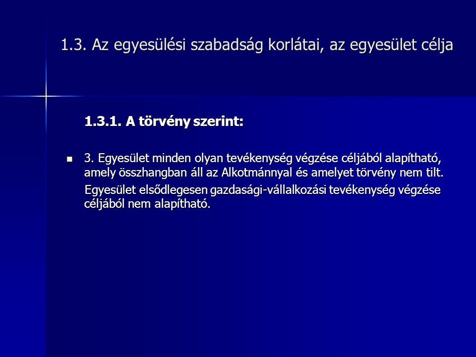 1.3.Az egyesülési szabadság korlátai, az egyesület célja 1.3.1.