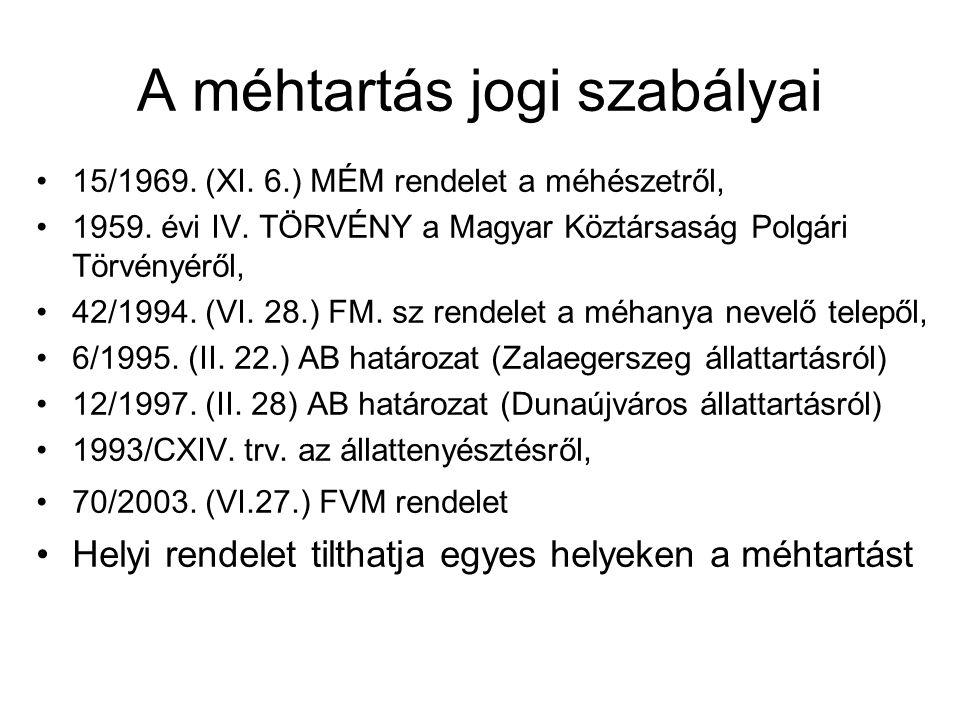 A méhtartás jogi szabályai •15/1969. (XI. 6.) MÉM rendelet a méhészetről, •1959. évi IV. TÖRVÉNY a Magyar Köztársaság Polgári Törvényéről, •42/1994. (