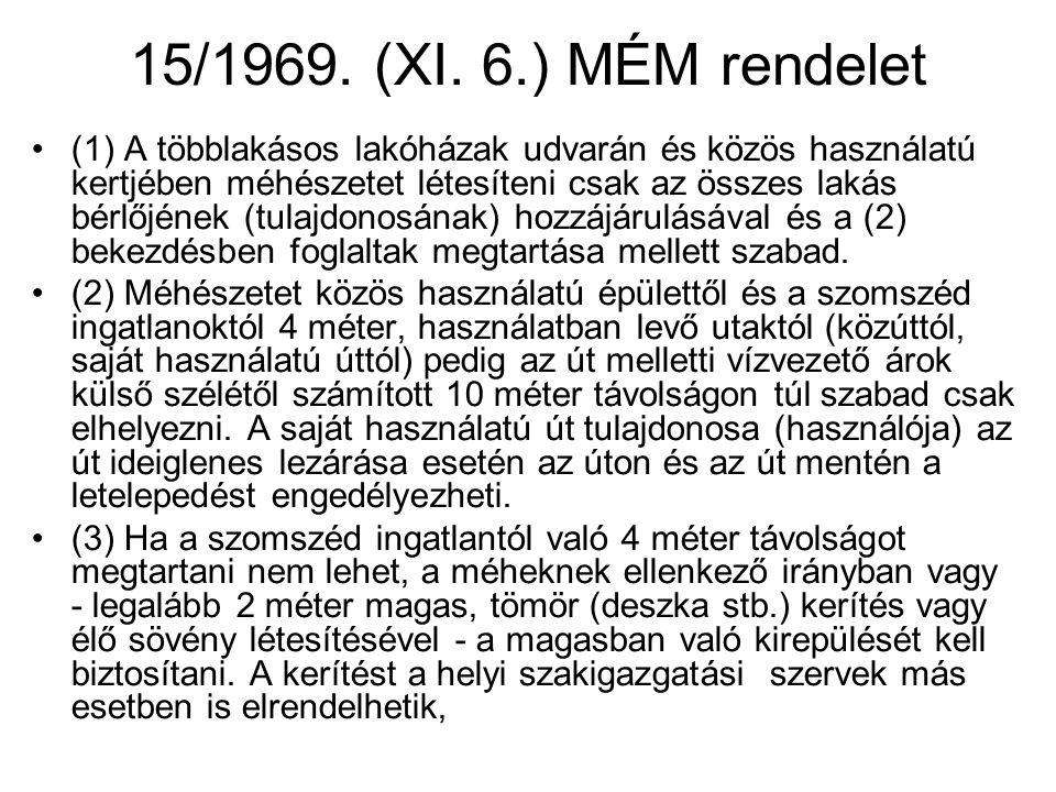 15/1969. (XI. 6.) MÉM rendelet •(1) A többlakásos lakóházak udvarán és közös használatú kertjében méhészetet létesíteni csak az összes lakás bérlőjéne