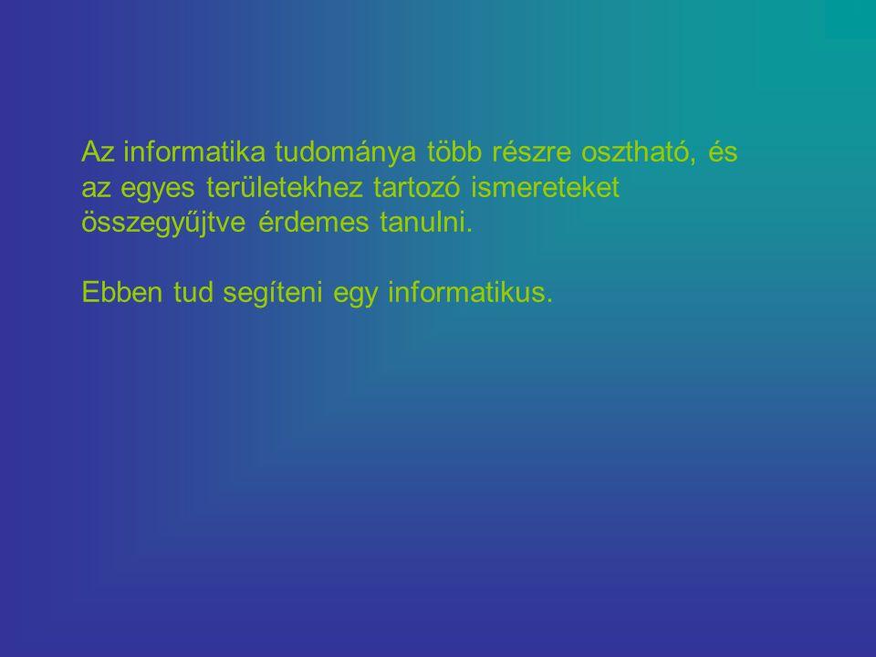Az informatika tudománya több részre osztható, és az egyes területekhez tartozó ismereteket összegyűjtve érdemes tanulni.