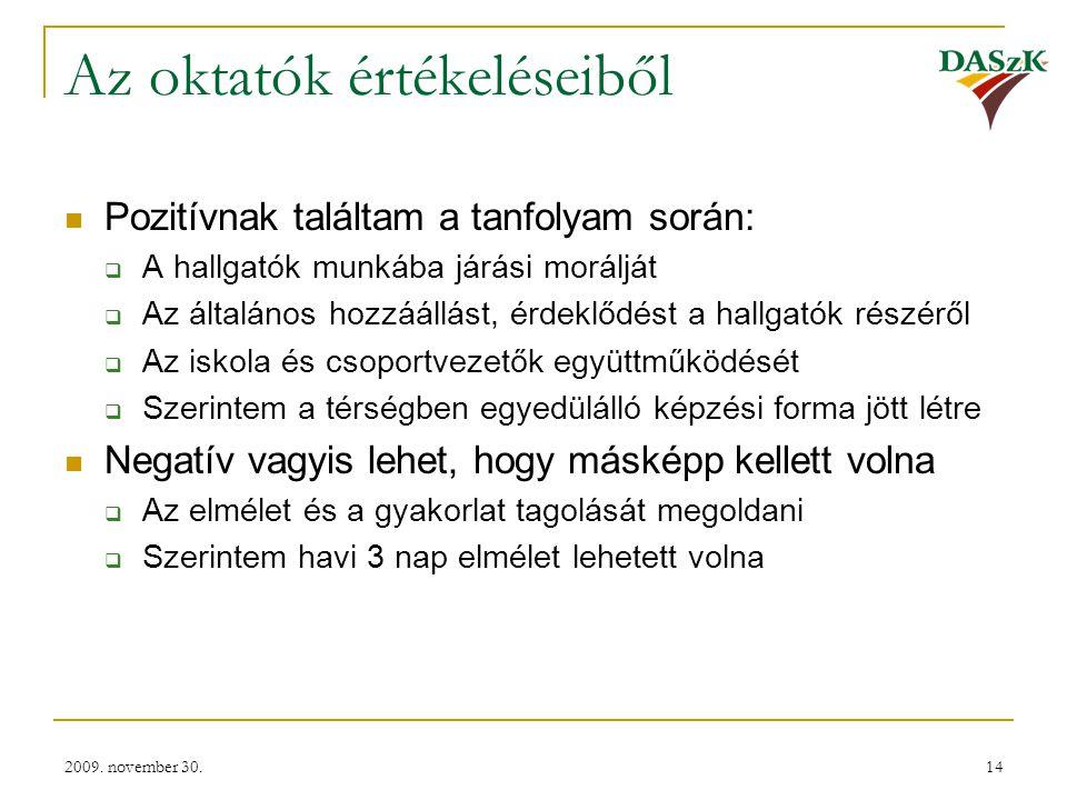 2009. november 30.14 Az oktatók értékeléseiből  Pozitívnak találtam a tanfolyam során:  A hallgatók munkába járási morálját  Az általános hozzáállá