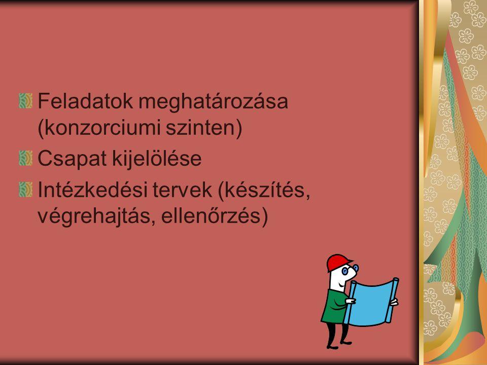 Feladatok meghatározása (konzorciumi szinten) Csapat kijelölése Intézkedési tervek (készítés, végrehajtás, ellenőrzés)
