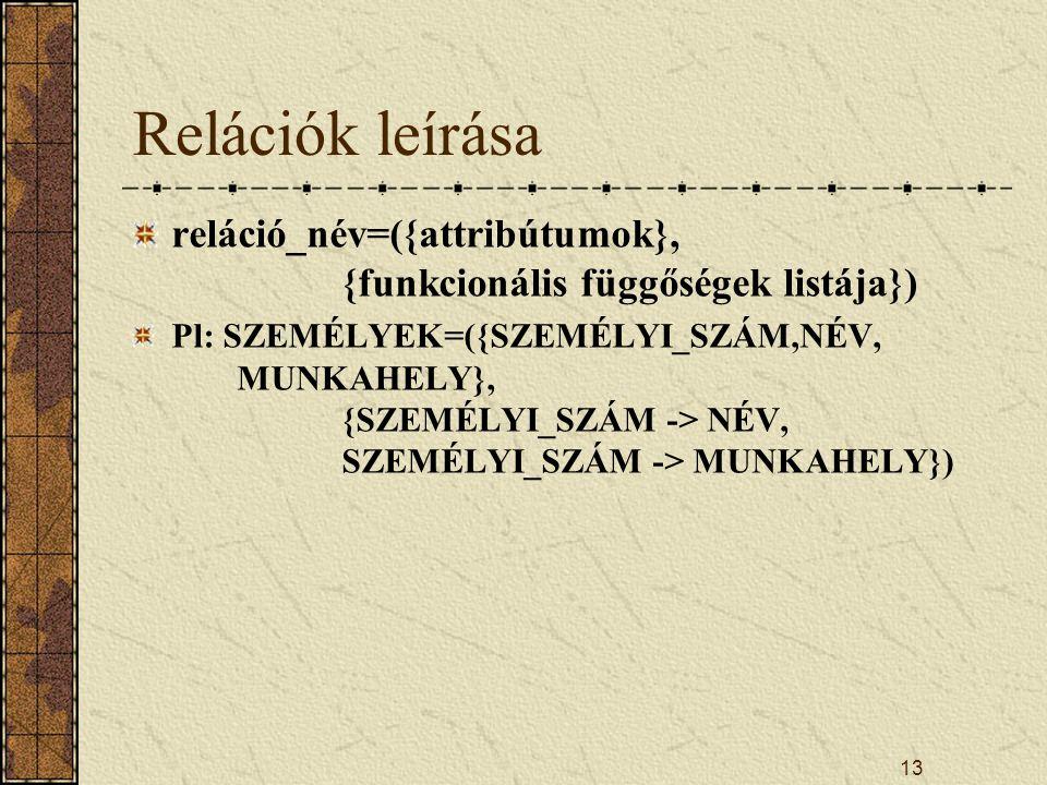 13 Relációk leírása reláció_név=({attribútumok}, {funkcionális függőségek listája}) Pl: SZEMÉLYEK=({SZEMÉLYI_SZÁM,NÉV, MUNKAHELY}, {SZEMÉLYI_SZÁM -> N