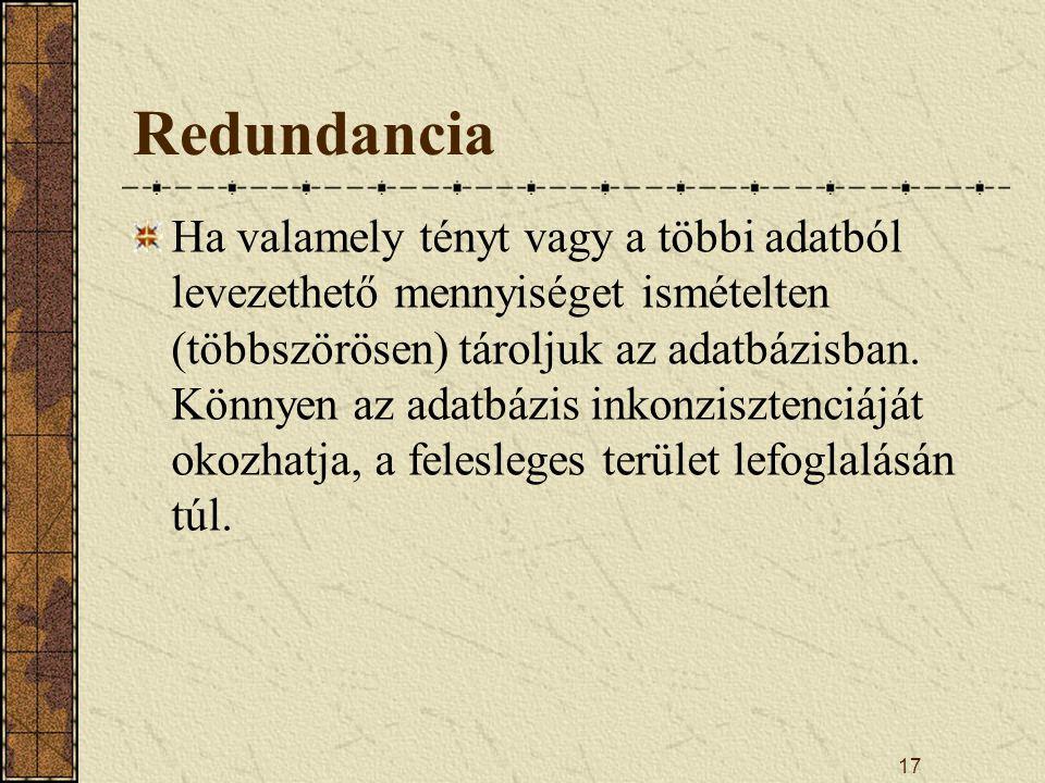 17 Redundancia Ha valamely tényt vagy a többi adatból levezethető mennyiséget ismételten (többszörösen) tároljuk az adatbázisban. Könnyen az adatbázis