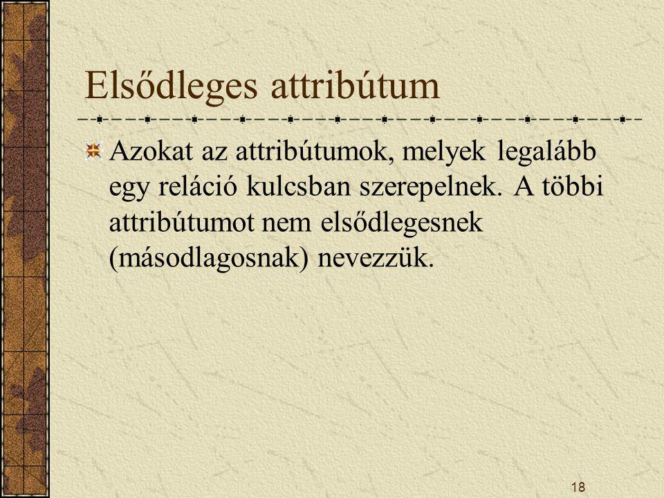 18 Elsődleges attribútum Azokat az attribútumok, melyek legalább egy reláció kulcsban szerepelnek. A többi attribútumot nem elsődlegesnek (másodlagosn