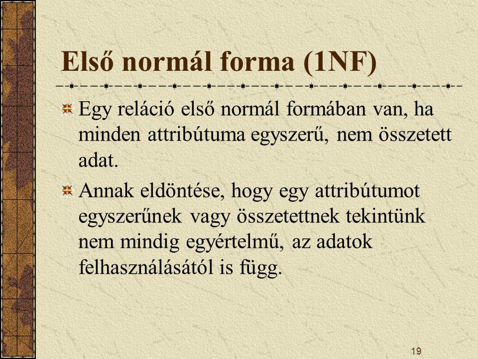 19 Első normál forma (1NF) Egy reláció első normál formában van, ha minden attribútuma egyszerű, nem összetett adat. Annak eldöntése, hogy egy attribú