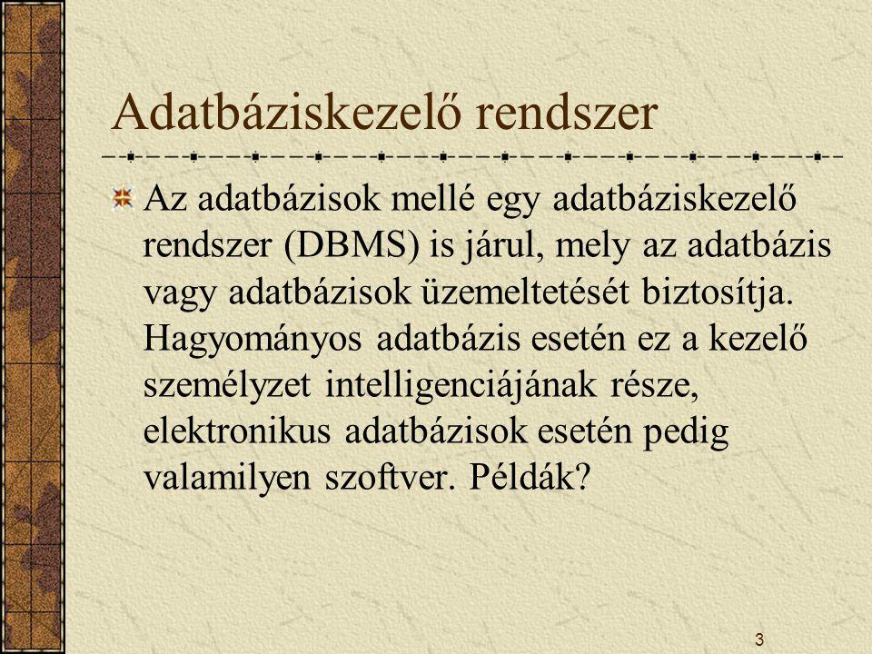 3 Adatbáziskezelő rendszer Az adatbázisok mellé egy adatbáziskezelő rendszer (DBMS) is járul, mely az adatbázis vagy adatbázisok üzemeltetését biztosí