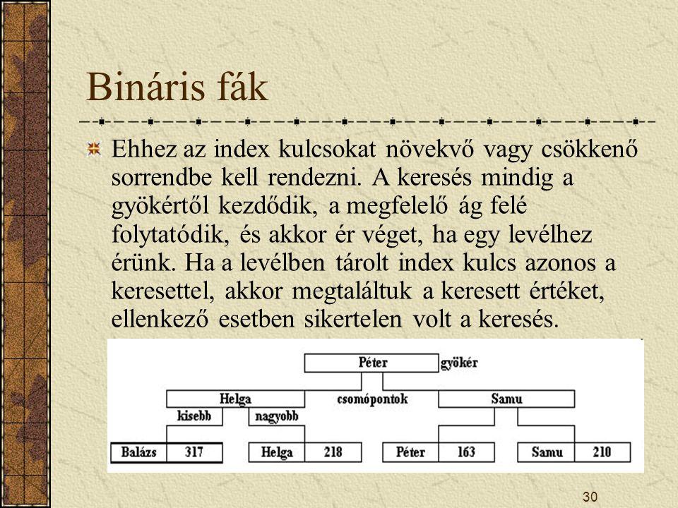 30 Bináris fák Ehhez az index kulcsokat növekvő vagy csökkenő sorrendbe kell rendezni. A keresés mindig a gyökértől kezdődik, a megfelelő ág felé foly