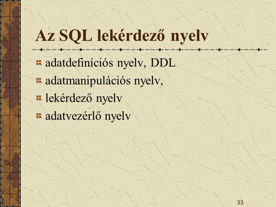 33 Az SQL lekérdező nyelv adatdefiníciós nyelv, DDL adatmanipulációs nyelv, lekérdező nyelv adatvezérlő nyelv