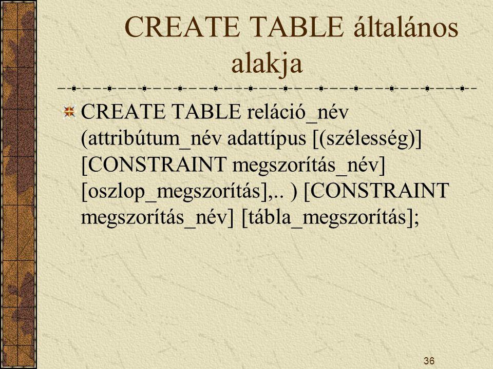 36 CREATE TABLE általános alakja CREATE TABLE reláció_név (attribútum_név adattípus [(szélesség)] [CONSTRAINT megszorítás_név] [oszlop_megszorítás],..