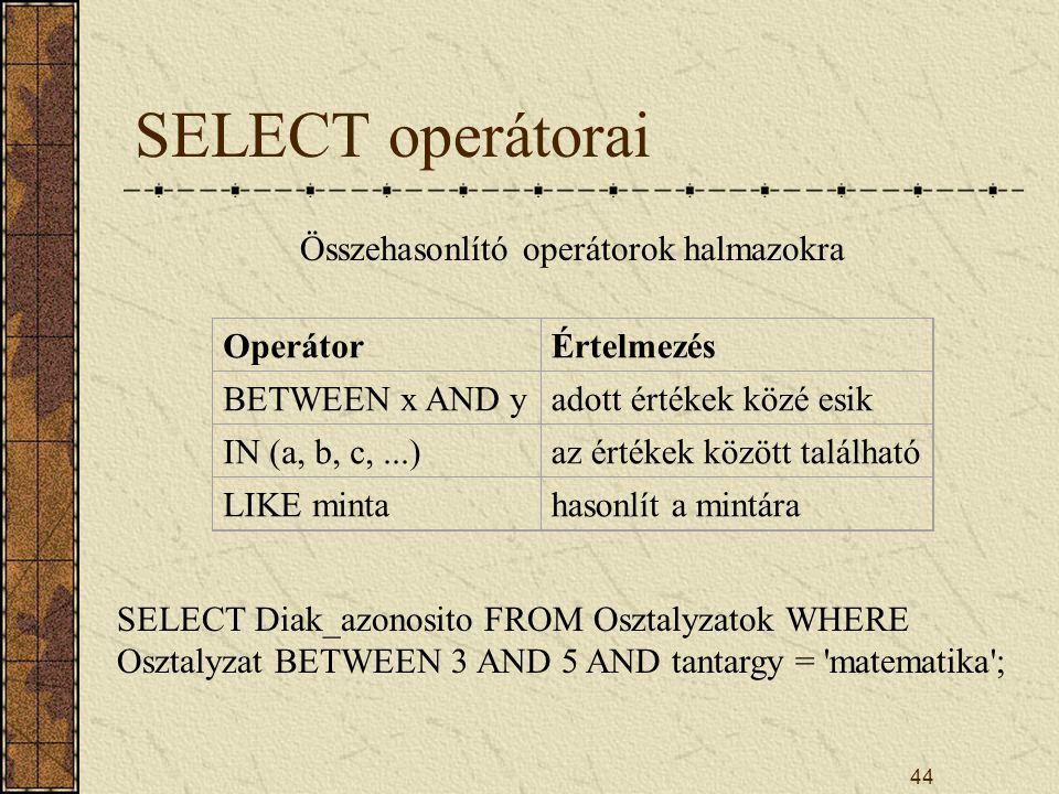 44 SELECT operátorai Összehasonlító operátorok halmazokra OperátorÉrtelmezés BETWEEN x AND yadott értékek közé esik IN (a, b, c,...)az értékek között