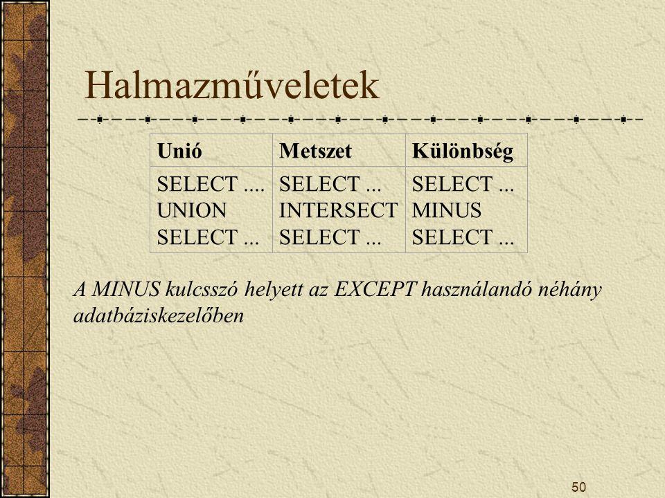 50 Halmazműveletek UnióMetszetKülönbség SELECT.... UNION SELECT... SELECT... INTERSECT SELECT... SELECT... MINUS SELECT... A MINUS kulcsszó helyett az