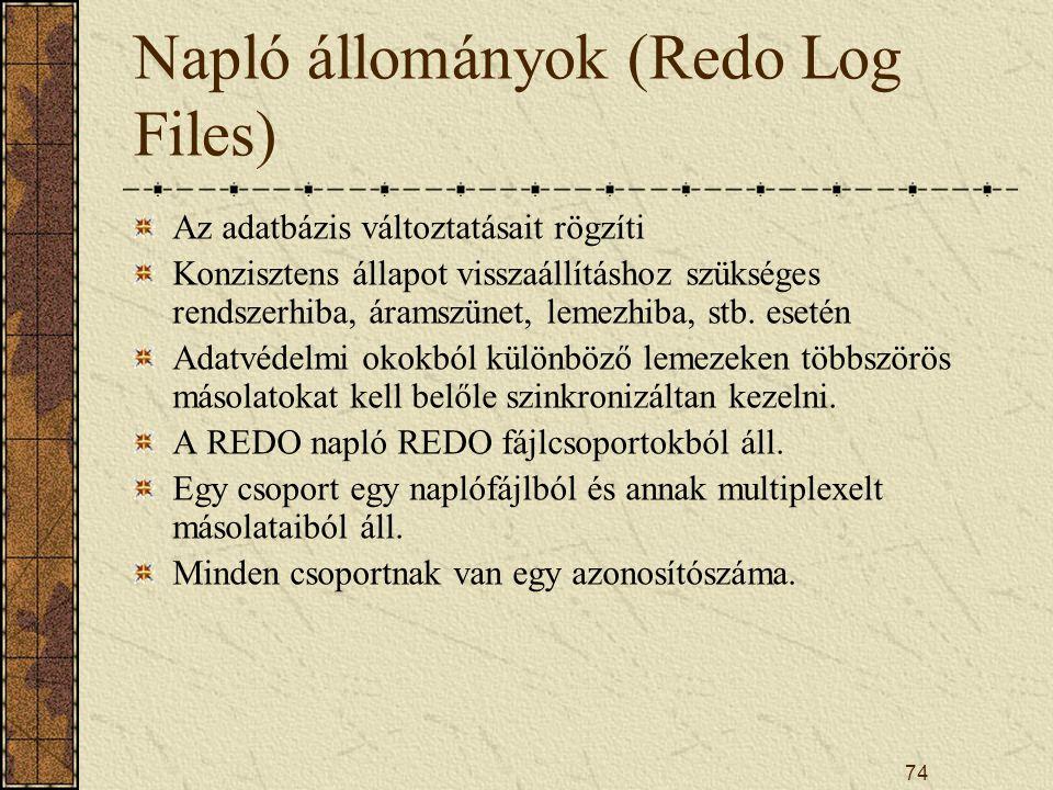 74 Napló állományok (Redo Log Files) Az adatbázis változtatásait rögzíti Konzisztens állapot visszaállításhoz szükséges rendszerhiba, áramszünet, leme