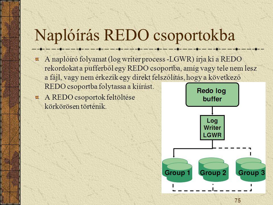 75 Naplóírás REDO csoportokba A naplóíró folyamat (log writer process -LGWR) írja ki a REDO rekordokat a pufferből egy REDO csoportba, amíg vagy tele