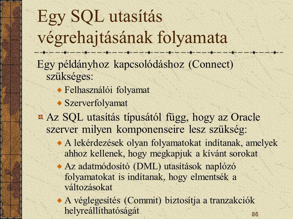 86 Egy SQL utasítás végrehajtásának folyamata Egy példányhoz kapcsolódáshoz (Connect) szükséges: Felhasználói folyamat Szerverfolyamat Az SQL utasítás
