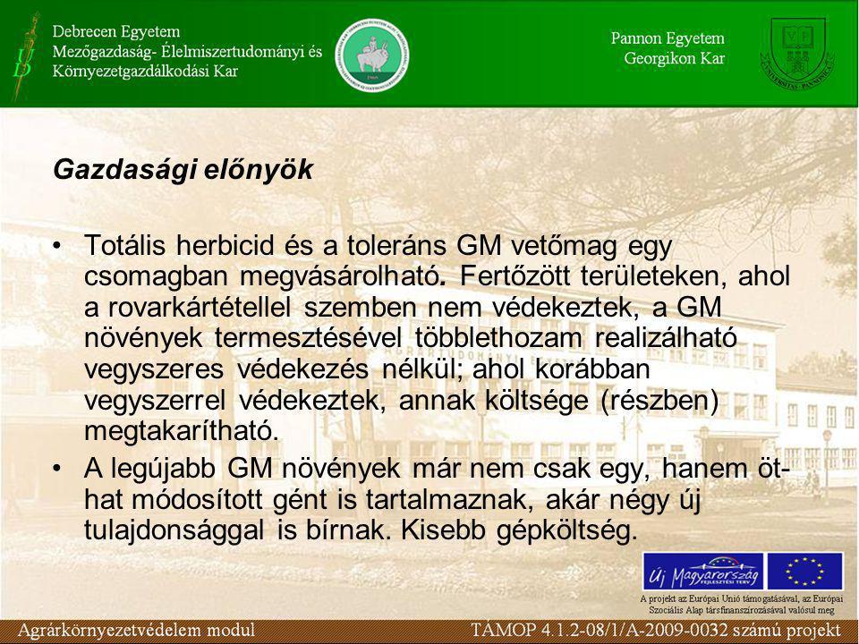 Gazdasági előnyök •Totális herbicid és a toleráns GM vetőmag egy csomagban megvásárolható.